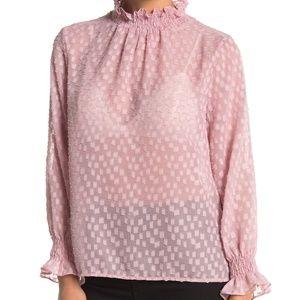 Everleigh Mock Neck Long Sleeve Sheer Blouse